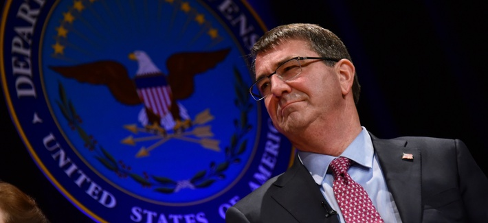 Secretary of Defense Ashton B. Carter during his swearing-in ceremony at the Pentagon March 6, 2015.