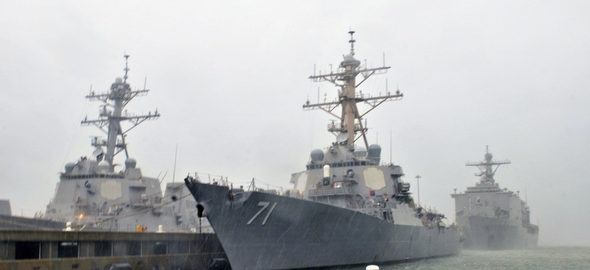 NORFOLK - The guided missile destroyers USS Ross, USS Forrest Sherman, the amphibious dock landing ship USS Fort McHenry and the guided-missile cruiser USS Normandy are safely moored at Naval Station Norfolk.