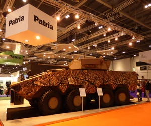 A Finnish-made Patria AMV was one of many high-end combat vehicles on display this week at the 2015 Defence Security Exposition International, better known as DSEI, in London.