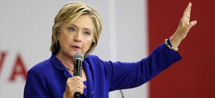 Hillary Clinton on the campaign trail Tuesday, Sept. 22, 2015, at Moulton Elementary School in Des Moines, Iowa.