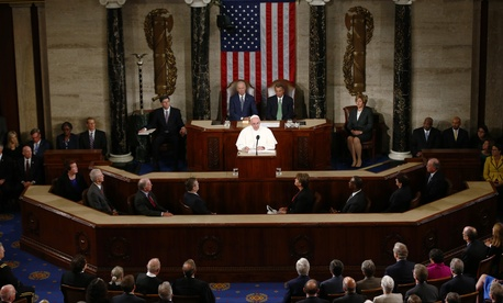 Pope Francis addresses a joint meeting of Congress on Capitol Hill in Washington, Thursday, Sept. 24, 2015, making history as the first pontiff to do so.