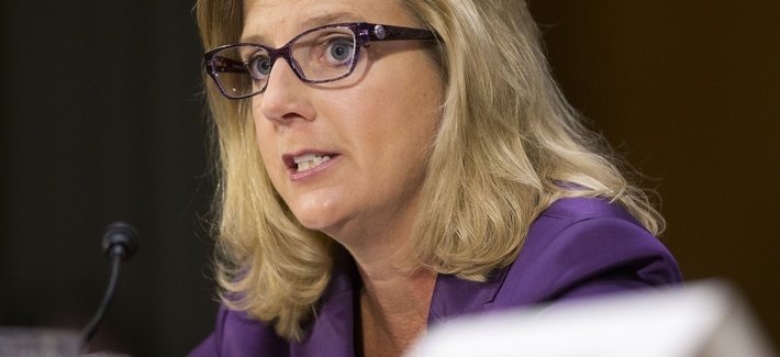 U.S. Defense Undersecretary Christine E. Wormuth testifies before the Senate Armed Services Committee on Sept. 16, 2015.