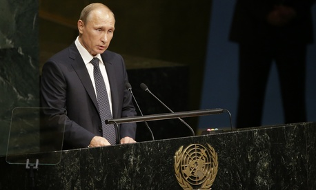 Russian President President Vladimir Putin addresses the 70th session of the United Nations General Assembly at U.N. headquarters, Monday, Sept. 28, 2015.