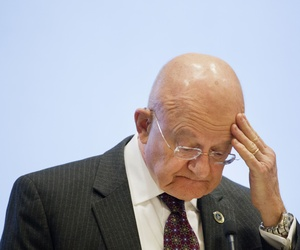 James Clapper, the Director of National Intelligence, speaks at the International Conference on Cyber Security at Fordham University, Wednesday, Jan. 7, 2015 in New York.