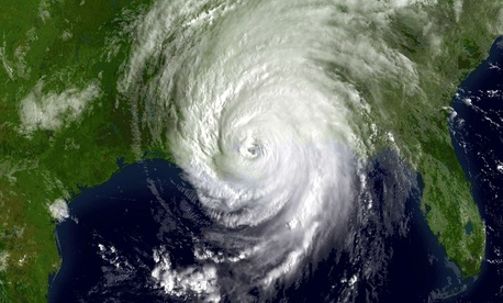 A GOES-12 visible image of Hurricane Katrina shortly after landfall on August 29, 2005 at 1415z.