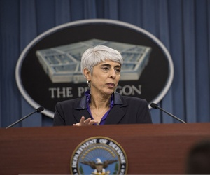 Arati Prabhakar, the director of the Defense Advanced Research Projects Agency, talks to members of the media in the briefing room at the Pentagon in Arlington, Va., April 24, 2013.