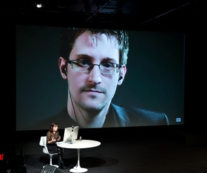 IMAGE DISTRIBUTED FOR THE NEW YORKER - Edward Snowden talks with Jane Mayer via satellite at the 15th Annual New Yorker Festival on Saturday, Oct. 11, 2014 in New York.