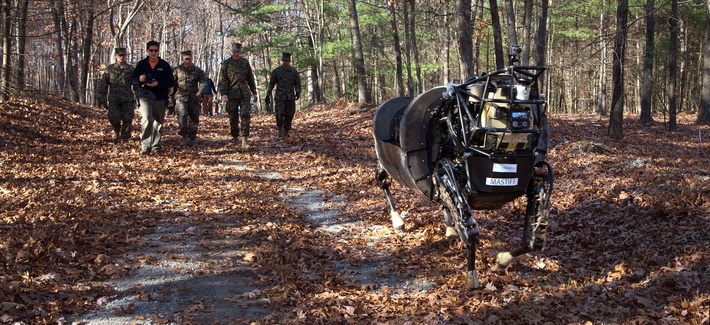 Marines with 1st Battalion, 5th Marine Regiment, test the capabilities of the Legged Squad Support System (LS3), aboard Fort Devens, Mass., Nov. 5, 2013.