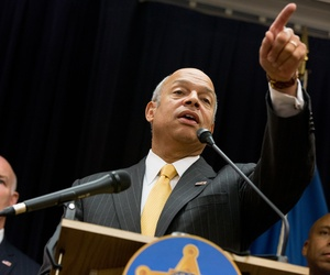 Homeland Security Secretary Jeh Johnson takes questions from members of the media following an event in Washington, Monday, Oct. 5, 2015, to thank Homeland Security Deparment employees for their work.