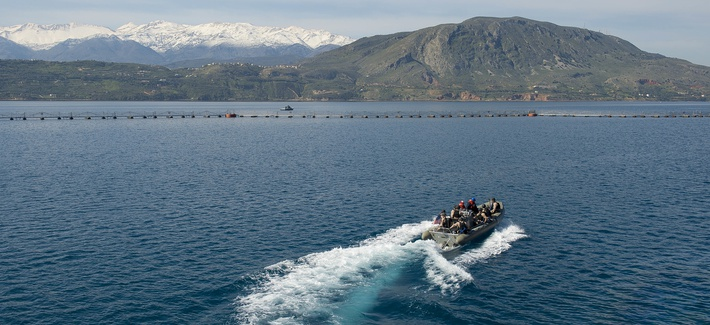 SOUDA BAY, Greece (April 13, 2015) The The USS Ross (DDG 71) visit board search and seizure (VBSS) team trains in the port of Souda Bay, Greece April 13, 2015.