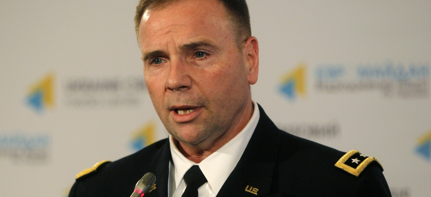 U.S. Army Europe commander Lt. Gen. Ben Hodges speaks during news conference in Kiev, Ukraine, Wednesday, Jan. 21, 2015.