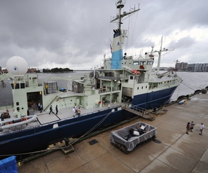 The research vessel Knorr operated by Woods Hole Oceanographic Institute and equipped with Office of Naval Research-sponsored ScanEagle unmanned aerial vehicles prepares to get underway in support of Trident Warrior 2013 (TW12).