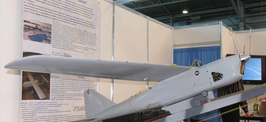 Russian drone Orlan-10 at InterAeroCom 2010, St. Petersburg.