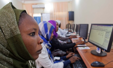 El Geneina: Students of the Faculty of Technology Science of the University of El Geneina, West Darfur, work at the computer lab sponsored by UNAMID as a Quick Impact Project in 2011.