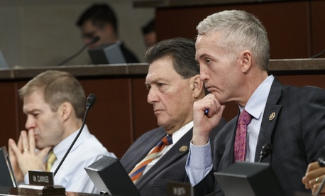 Members of the House Select Committee on Benghazi, from left, Rep. Jim Jordan, R-Ohio, Rep. Lynn Westmoreland, R-Ga., Committee Chairman Rep. Trey Gowdy, R-S.C., and Rep. Elijah Cummings, D-Md., the ranking member, listen to witnesses from the CIA and Sta