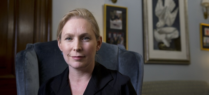 Sen. Kirsten Gillibrand, D-N.Y., poses for a portrait after speaking about military sexual assaults, during an interview in her office on Capitol Hill in Washington, Thursday, April 30, 2015.