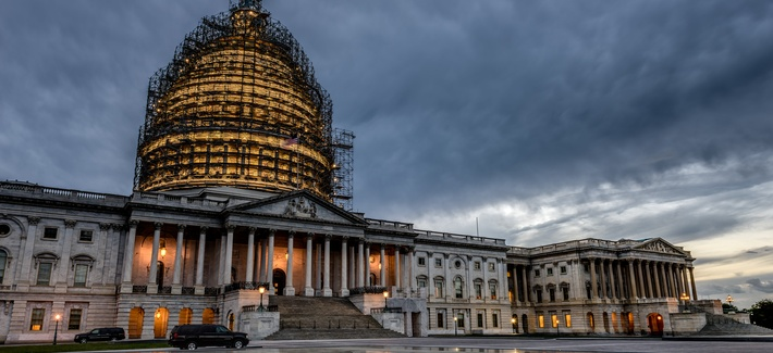 A photo of the US Capitol building under repair taken on September 26, 2015.