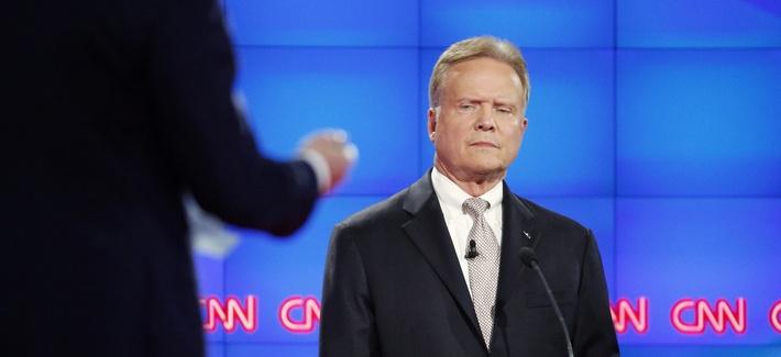Democratic presidential candidate former Virginia Sen. Jim Webb listens during the CNN Democratic presidential debate Tuesday, Oct. 13, 2015, in Las Vegas.