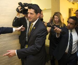 Rep. Paul Ryan, R-Wis. is pursued by members of the media as he arrives for a House GOP conference meeting on Capitol Hill in Washington, Wednesday, Oct. 21, 2015.