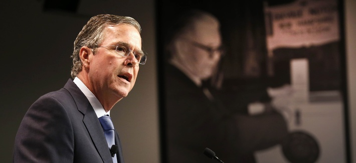 Republican presidential candidate, former Florida Gov. Jeb Bush, Tuesday, Oct. 13, 2015, at the New Hampshire Institute of Politics at Saint Anselm College in Manchester, N.H.