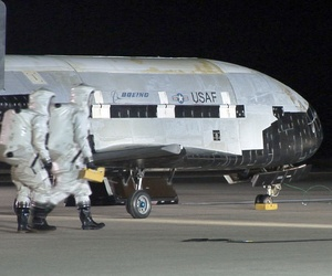 The USAF Rapid Capabilites Office help produce the X-37B Orbital Test Vehicle, a semi-secret space plane that sits on the runway after landing on Dec. 3, 2010, at Vandenberg Air Force Base, Calif.