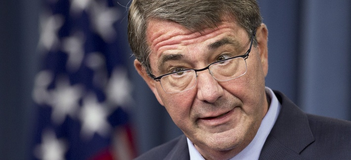 In this Sept. 30, 2015, photo Defense Secretary Ash Carter speaks to reporters during a news conference at the Pentagon.