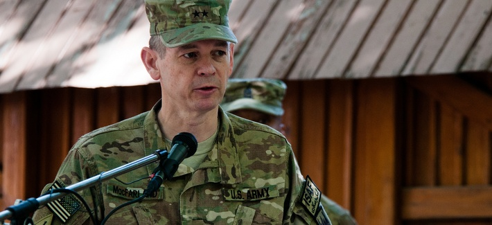 KABUL, Afghanistan (June 14, 2012) - U.S. Army Maj. Gen. Sean MacFarland, operations deputy chief of staff for the International Security Assistance Force (ISAF), speaks during a ceremony commemorating the U.S. Army's 237th birthday.