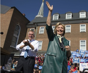 Democratic presidential candidate Hillary Clinton appears at a rally in Old Town Alexandria, Va., with Virginia Gov. Terry McAul­iffe.