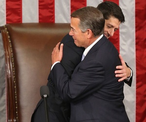 Paul Ryan and John Boehner embrace after Ryan's election Thursday.