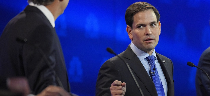 Florida Sen. Marco Rubio, right, counter-attcked former Florida Gov. Jeb Bush, who is fading in the polls, during the CNBC Republican presidential debate, Wed., Oct. 28, 2015, in Boulder, Colo.