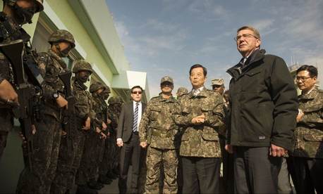 U.S. Defense Secretary Ash Carter and South Korean Defense Minister Minkoo Han visit the Demilitarized Zone, Nov.1, 2015.