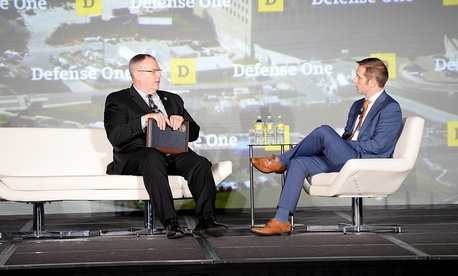 Deputy Secretary of Defense Bob Work answers questions at the 3rd Annual Defense One Summit on November 02, 2015.
