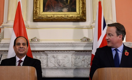 Britain's Prime Minister David Cameron, right, with Egyptian President Abdel Fattah el-Sissi, Nov. 5, 2015, at 10 Downing Street, London.