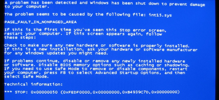 A Windows error message commonly referred to as the 'blue screen of death'.