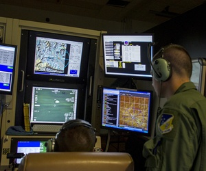 Student sensor operators from the 6th Reconnaissance Squadron practice tactical operations during an MQ-1 Predator simulator mission.