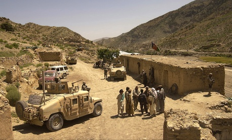 A convoy from the Khowst Provincial Reconstruction Team visits a district center in the Spera District of Khowst Province, Afghanistan, May 17, 2007. The team members visited Spera to assess the areaís security situation.