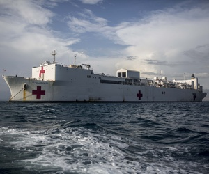 The USNS Comfort (T-AH-20) sits off the coast of Carrefour, Haiti, during Continuing Promise 15, Sept. 14, 2015.