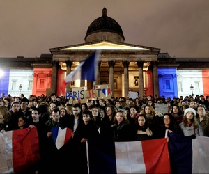 The French community of London hold a vigil at Trafalgar Square in memory of those killed in the terrorist attacks in Paris, France on Nov. 13, 2015.