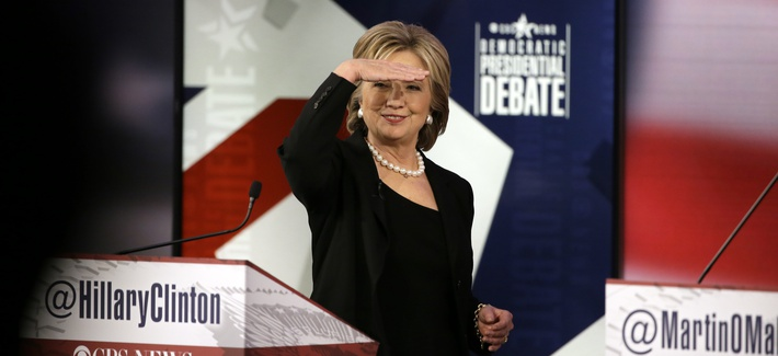 Hillary Rodham Clinton looks at audience during a commercial break at a Democratic presidential primary debate, Saturday, Nov. 14, 2015, in Des Moines, Iowa.