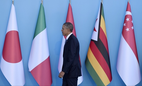U.S President Barack Obama arrives for the official welcome to the G-20 Summit in Antalya, Turkey, Sunday, Nov. 15, 2015.