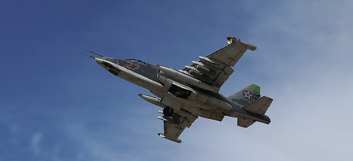 A Russian aircraft departs an air base in Syria for a recent strike mission.