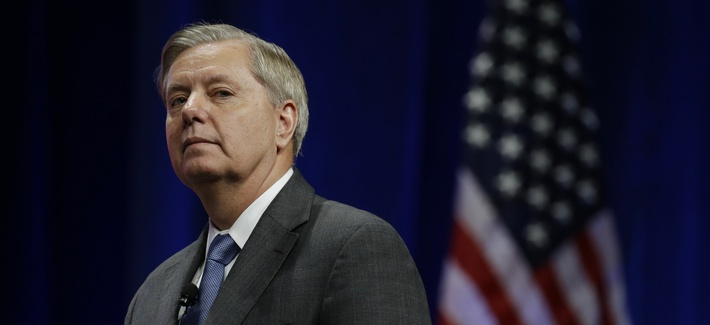 Republican presidential candidate, U.S. Senator Lindsey Graham, R-SC, pauses during his remarks at the Sunshine Summit in Orlando, Fla., Friday Nov. 13, 2015.