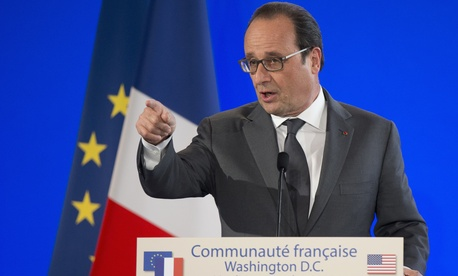 French President Francois Hollande speaks at the French Embassy in Washington, Tuesday, Nov. 24, 2015.