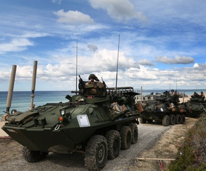US marine armoured vehicles leave the beach after getting off from US Navy hovercrafts during the NATO Trident Juncture exercise 2015 at Raposa Media beach in Pinheiro da Cruz, south of Lisbon, Tuesday, Oct. 20, 2015.