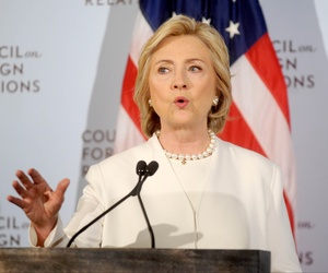 Hillary Clinton announces her campaign agenda on combating the future of ISIS in Syria. She addressed the Council on Foreign Relations in Manhattan. (NYC)