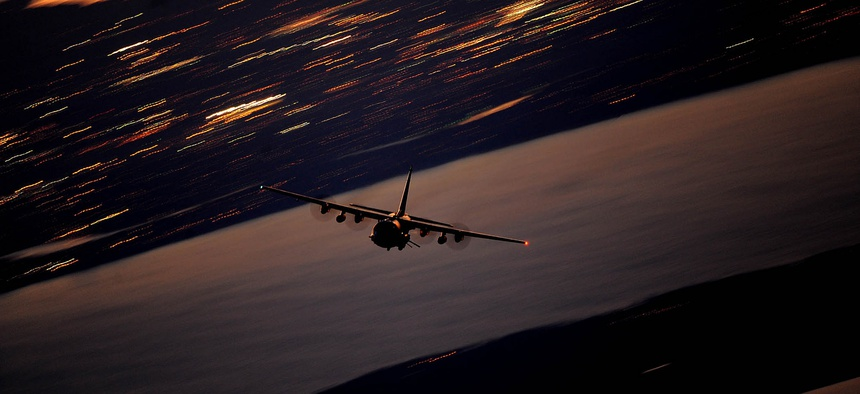 An AC-130U Gunship flies a local training mission Jan. 27, 2011, over Hurlburt Field, Fla.
