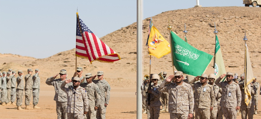 U.S. and Saudi Arabian forces conduct a closing ceremony for Exercise Friendship and Iron Hawk 14 on April 14th, 2014, near Tabuk, Saudi Arabia.