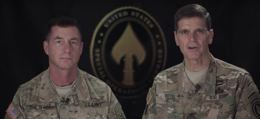 Gen. Joseph Votel recorded a video message to Special Operations Command explaining his decision to not seek permission to keep women from combat roles, Dec. 3, 2015.