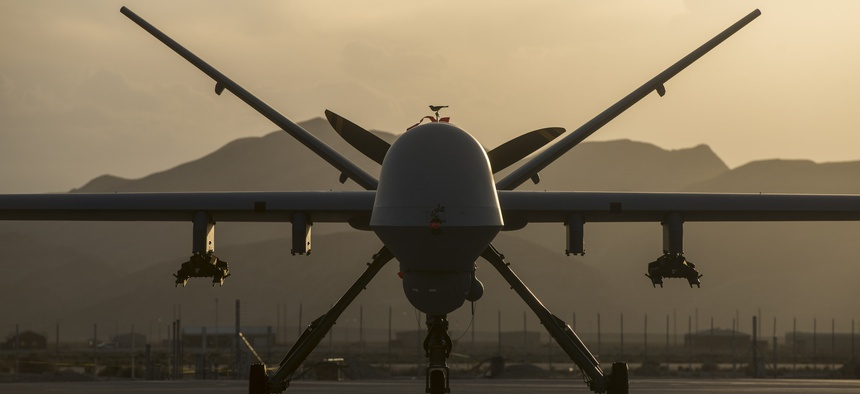 A MQ-9 Reaper assigned to the 432nd Aircraft Maintenance Squadron remains ready for its next mission at Creech Air Force Base, Nevada.
