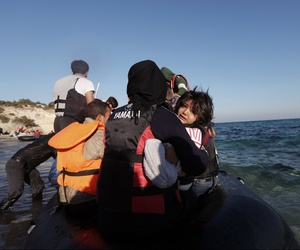 Refugees flee to Europe by dinghy from the Turkish coast near Cesme, Izmir, Turkey, Nov. 4, 2015.